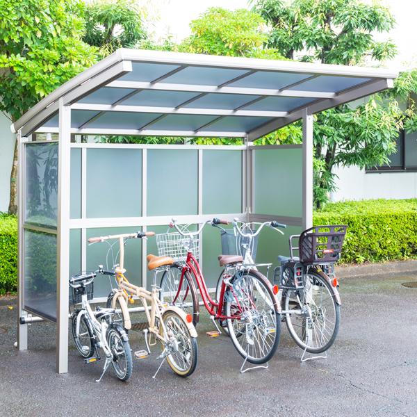 サイクルポート 大仙(ダイセン) 自転車スペース 積雪20cm仕様 間口24 側面・背面2段パネル BS-2401 + BS-P2401 4台用 『アルミ製 家庭用 駐輪 自転車置き場 屋根』