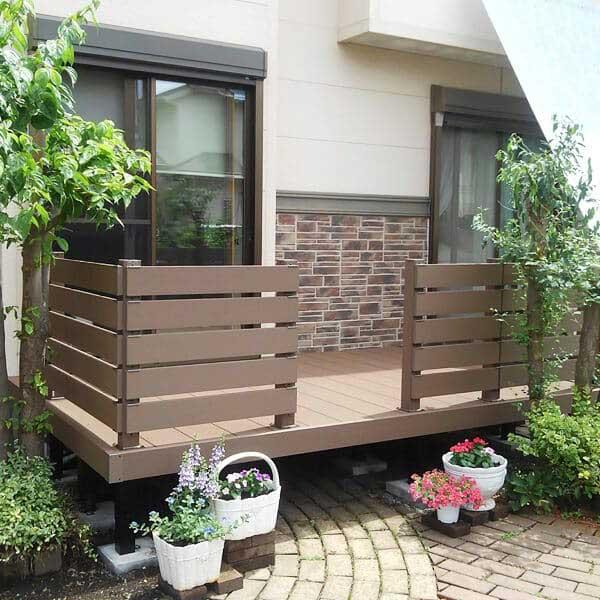 品質は非常に良い 人工木 腐りにくい人工木デッキ』:エクステリアのプロショップ キロ キロスタイル レジーナデッキ 固定式 高さ550 1間×7尺 『ウッドデッキ キット-エクステリア・ガーデンファニチャー