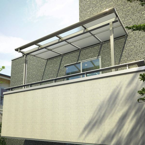 YKKAP 躯体式バルコニー屋根 ソラリア Bタイプ 柱奥行移動タイプ 2間×4尺 フラット型 ポリカ屋根 関東間 600N/m2 中間取付金具セット付