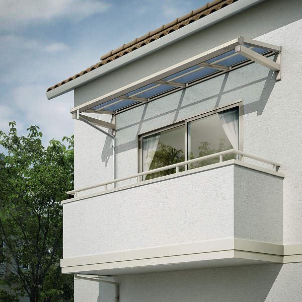 YKKAP 持ち出し屋根 ソラリア 3.5間×2尺 フラット型 ポリカ屋根 関東間 600N/m2 上から施工