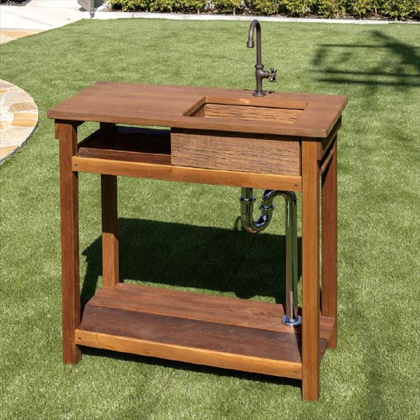 オンリーワン ガーデンシンク ターブル L GM3-TA80L 『ウリン材 ウレタン素材 木目調 流し台』