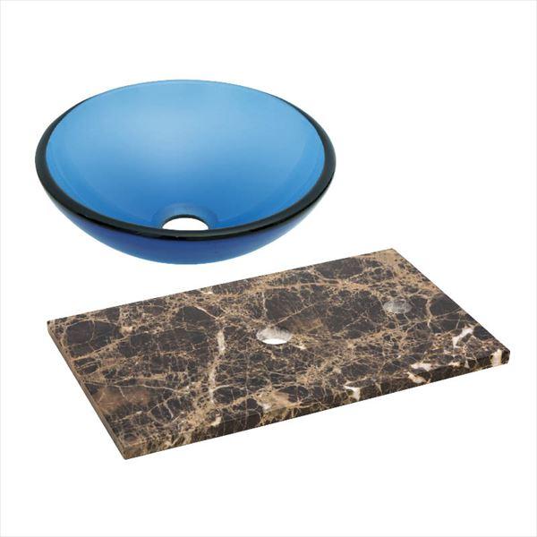 オンリーワン 天然石カウンター手洗鉢セット   JX4-B181EDK   『水栓柱・立水栓 水受け 室内専用』 ブルー×エンペラドールダーク