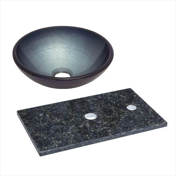 オンリーワン 天然石カウンター手洗鉢セット   JX4-B185SBR   『水栓柱・立水栓 水受け 室内専用』 メタリックグレー×ステラブルー