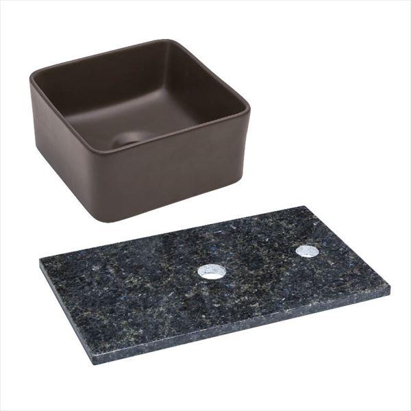 オンリーワン 天然石カウンター手洗鉢セット   JX4-B198SBR   『水栓柱・立水栓 水受け 室内専用』 チョコレート×ステラブルー