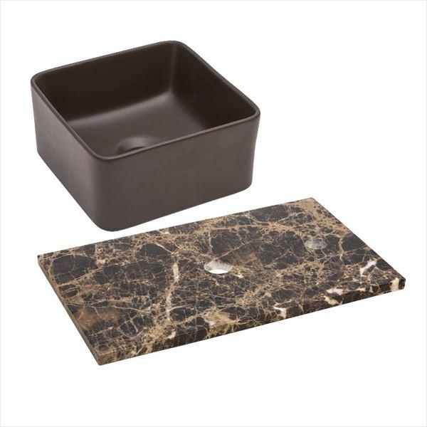 オンリーワン 天然石カウンター手洗鉢セット   JX4-B198EDK   『水栓柱・立水栓 水受け 室内専用』 チョコレート×エンペラドールダーク