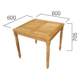 ジャービス商事 コンビネーションテーブル 正方形天板0606型+角脚70 『ガーデンテーブル』 無塗装