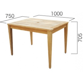 ジャービス商事 コンビネーションテーブル 長方形天板1007型+角脚70 『ガーデンテーブル』 無塗装
