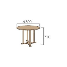 送料無料【ジャービス商事】天然チーク材の温かみ ジャービス商事 丸テーブル0808 『ガーデンテーブル』 無塗装