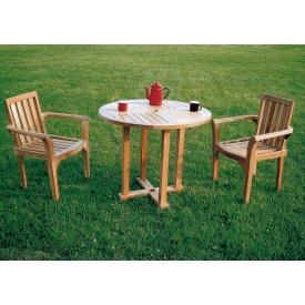 ジャービス商事 丸テーブル0909 3点セット 『ガーデンテーブルセット』 無塗装
