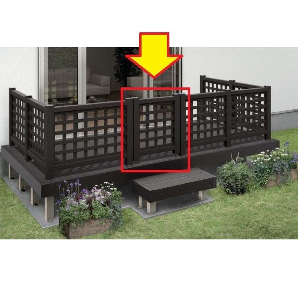 YKKAP リウッドデッキ200 リウッドデッキ門扉1型(井桁格子) T80+中柱+(吊元用)角柱R/Lセット ウッドデッキ 門扉 人工木 樹脂 diy