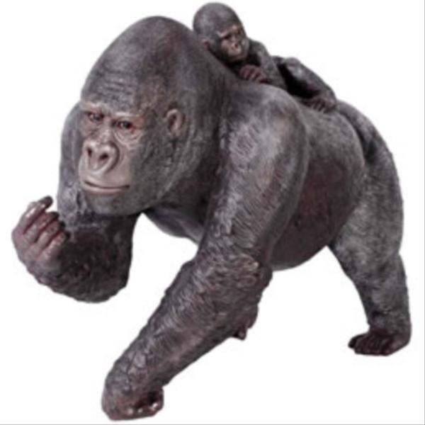 FRP 子供を背負う母ゴリラ / Female Gorilla with BaBy 『動物園オブジェ アニマルオブジェ 店舗・イベント向け』