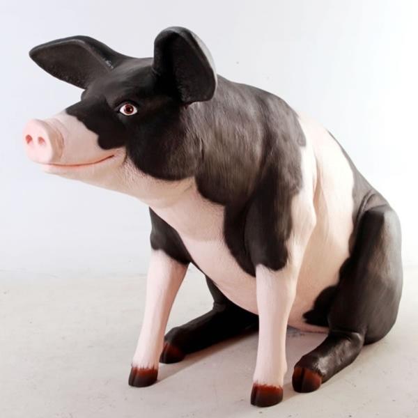 FRP ゆかいな豚さん / Large Pig Pink&Blk 『動物園オブジェ アニマルオブジェ 店舗・イベント向け』