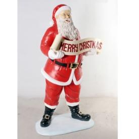 FRP クリスマスを祝うサンタ / Santa with Christmas Banner 『クリスマスオブジェ 店舗・イベント向け』