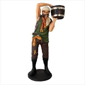 FRP 手おけを持つ海賊 / Pirate with Bucket 『遊園地オブジェ 海賊オブジェ 店舗・イベント向け』