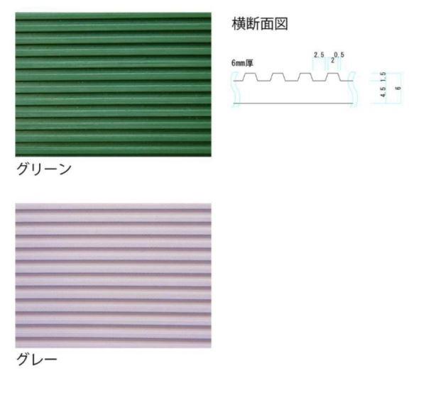ミヅシマ工業 筋入りゴム長マット 本体 #61 1m×10m×6mm 1巻