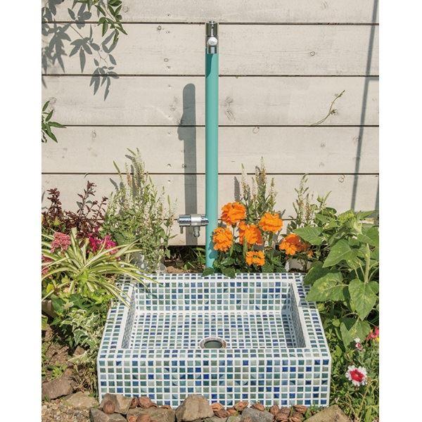 オンリーワン タイリスト ガーデンパン モザイコ セット2 『ガーデンパン+水栓注』  ネイビーブルー   ネイビーブルー