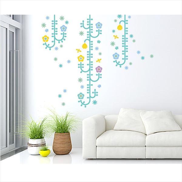 東京ステッカー 高級ウォールステッカー 植物 植物と昆虫たち Mサイズ *TS0006-CM ライトブルー 『おしゃれ かわいい』 『壁 シール』