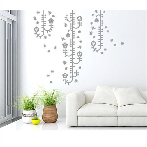東京ステッカー 高級ウォールステッカー 植物 植物と昆虫たち Mサイズ *TS0006-EM グレー 『おしゃれ かわいい』 『壁 シール』