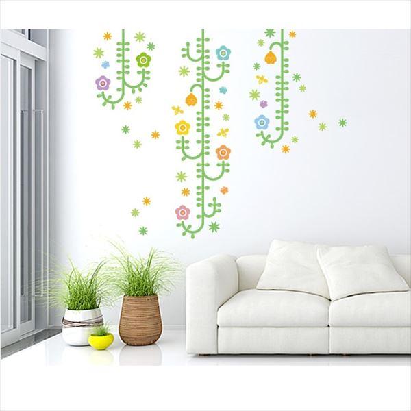東京ステッカー 高級ウォールステッカー 植物 植物と昆虫たち Lサイズ *TS0006-AL ベーシックグリーン 『おしゃれ かわいい』 『壁 シール』