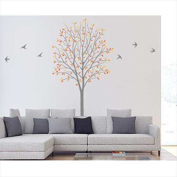 東京ステッカー 高級ウォールステッカー 植物 木とツバメ Sサイズ *TS0027-DS オレンジ 『おしゃれ かわいい』 『壁 シール』