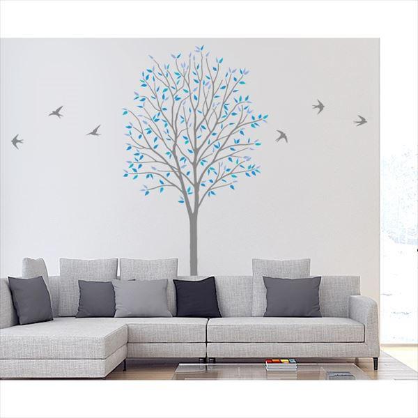 東京ステッカー 高級ウォールステッカー 植物 木とツバメ Lサイズ *TS0027-BL ブルー 『おしゃれ かわいい』 『壁 シール』