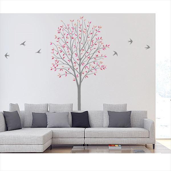 東京ステッカー 高級ウォールステッカー 植物 木とツバメ Lサイズ *TS0027-CL レッド 『おしゃれ かわいい』 『壁 シール』