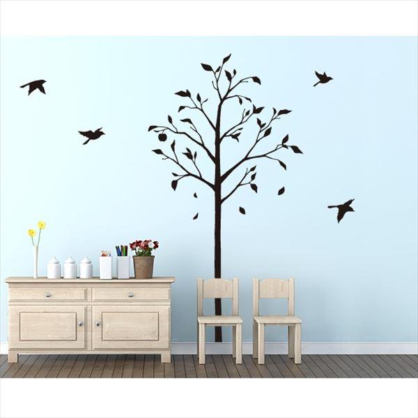 東京ステッカー 高級ウォールステッカー 植物 林檎の木と小鳥 Mサイズ *TS0051-AM ブラック 『おしゃれ かわいい』 『壁 シール』