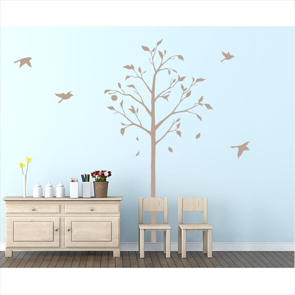 東京ステッカー 高級ウォールステッカー 植物 林檎の木と小鳥 Mサイズ *TS0051-BM ベージュ 『おしゃれ かわいい』 『壁 シール』