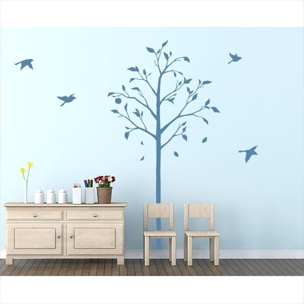 東京ステッカー 高級ウォールステッカー 植物 林檎の木と小鳥 Mサイズ *TS0051-DM ブルー 『おしゃれ かわいい』 『壁 シール』