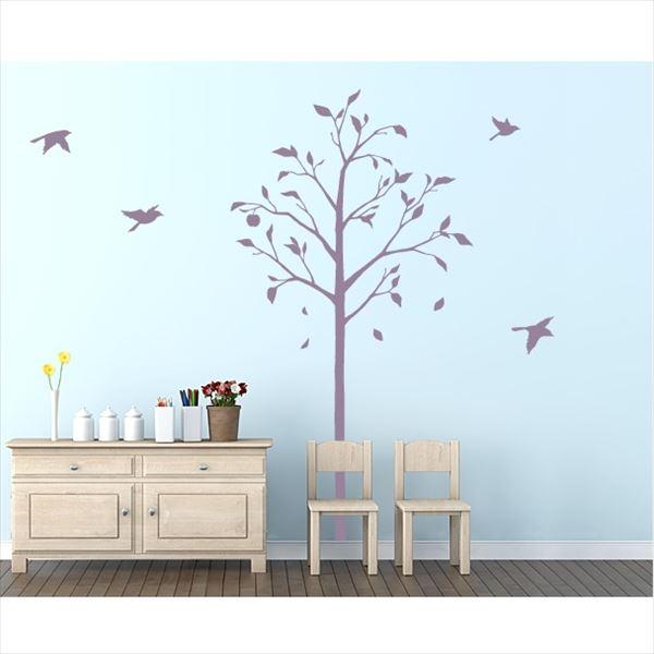 東京ステッカー 高級ウォールステッカー 植物 林檎の木と小鳥 Mサイズ *TS0051-EM パープル 『おしゃれ かわいい』 『壁 シール』
