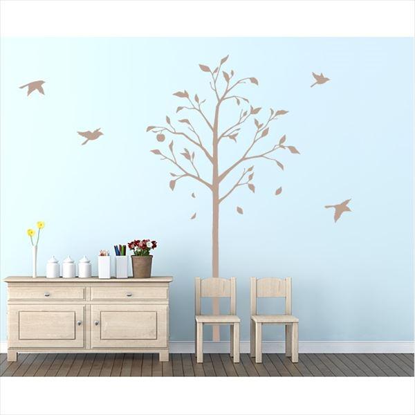 東京ステッカー 高級ウォールステッカー 植物 林檎の木と小鳥 Lサイズ *TS0051-BL ベージュ 『おしゃれ かわいい』 『壁 シール』