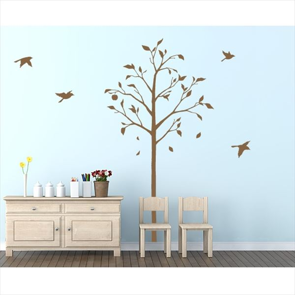 東京ステッカー 高級ウォールステッカー 植物 林檎の木と小鳥 Lサイズ *TS0051-CL ブラウン 『おしゃれ かわいい』 『壁 シール』