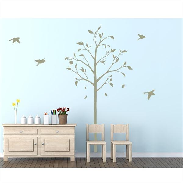 東京ステッカー 高級ウォールステッカー 植物 林檎の木と小鳥 Lサイズ *TS0051-FL グリーン 『おしゃれ かわいい』 『壁 シール』