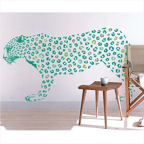 東京ステッカー 高級ウォールステッカー 動物 ヒョウ LLサイズ *TS0019-FLL グリーン 『おしゃれ かわいい』 『壁 シール』