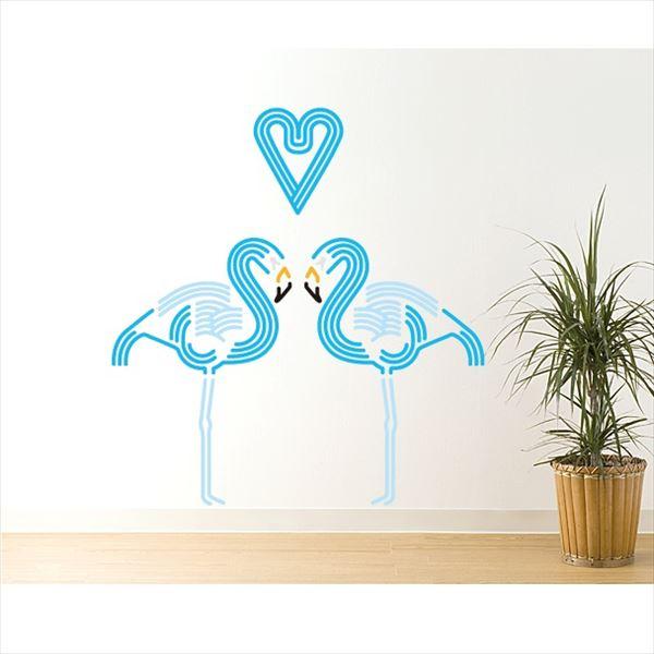 東京ステッカー 高級ウォールステッカー 動物 フラミンゴ ハート Mサイズ *TS0045-BM ブルー 『おしゃれ かわいい』 『壁 シール』
