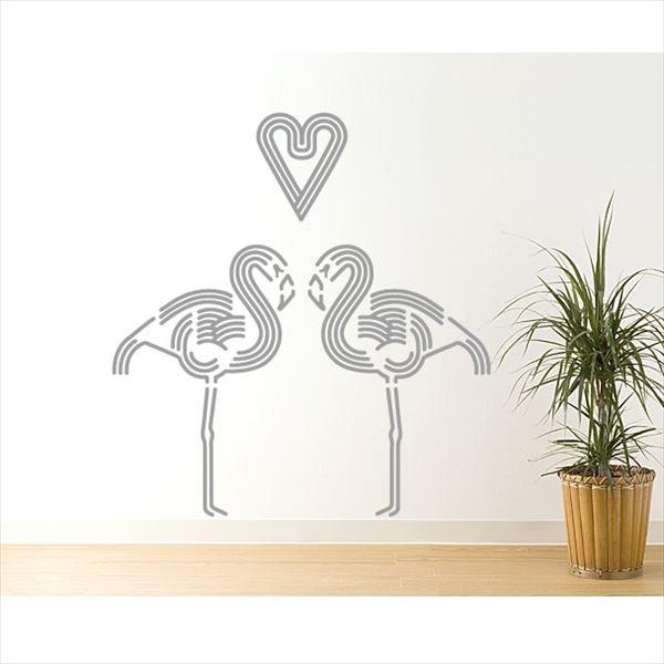 東京ステッカー 高級ウォールステッカー 動物 フラミンゴ ハート Lサイズ *TS0045-DL グレー 『おしゃれ かわいい』 『壁 シール』