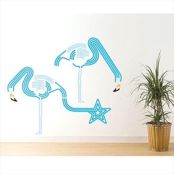 東京ステッカー 高級ウォールステッカー 動物 フラミンゴ ドリンク Lサイズ *TS0046-BL ブルー 『おしゃれ かわいい』 『壁 シール』