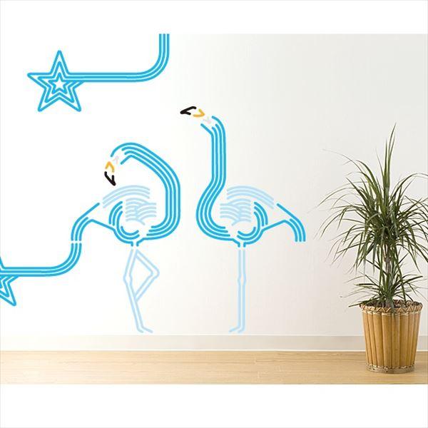 東京ステッカー 高級ウォールステッカー 動物 フラミンゴ ルック Mサイズ *TS0047-BM ブルー 『おしゃれ かわいい』 『壁 シール』