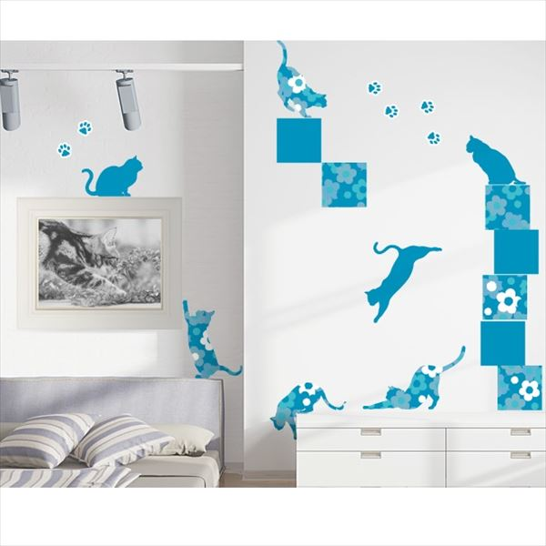 東京ステッカー 高級ウォールステッカー 動物 フローラル・キャッツ Lサイズ *TS0021-DL ブルー 『おしゃれ かわいい』 『壁 シール』