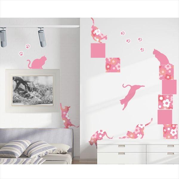 東京ステッカー 高級ウォールステッカー 動物 フローラル・キャッツ Lサイズ *TS0021-EL ピンク 『おしゃれ かわいい』 『壁 シール』