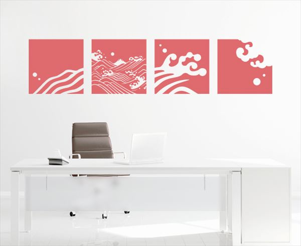 東京ステッカー 高級ウォールステッカー 和風 荒波に富士 Lサイズ *TS0030-IL 江戸紫 『おしゃれ かわいい』 『壁 シール』