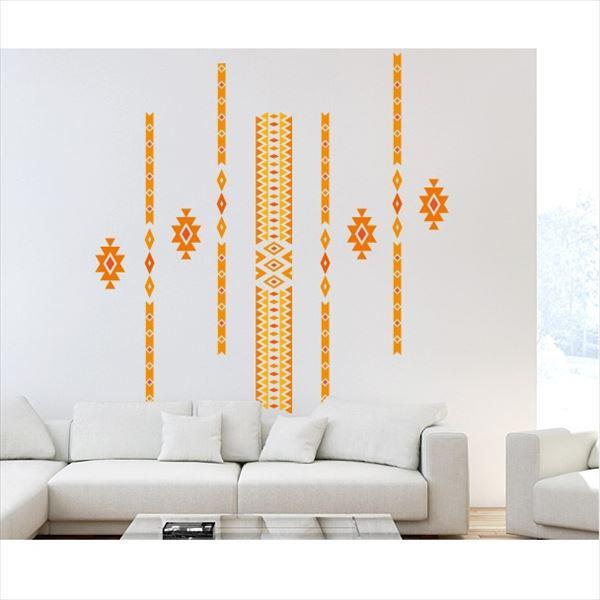 東京ステッカー 高級ウォールステッカー グラフィックアート トライバル Lサイズ *TS0016-FL オレンジ 『おしゃれ かわいい』 『壁 シール』