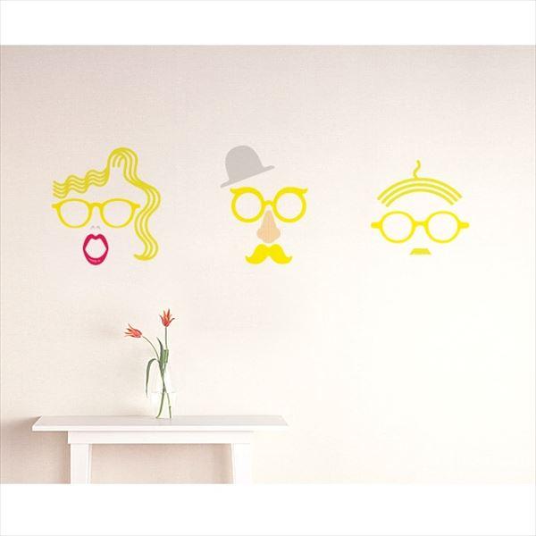 東京ステッカー 高級ウォールステッカー グラフィックアート メガネ Lサイズ *TS0048-BL イエロー 『おしゃれ かわいい』 『壁 シール』