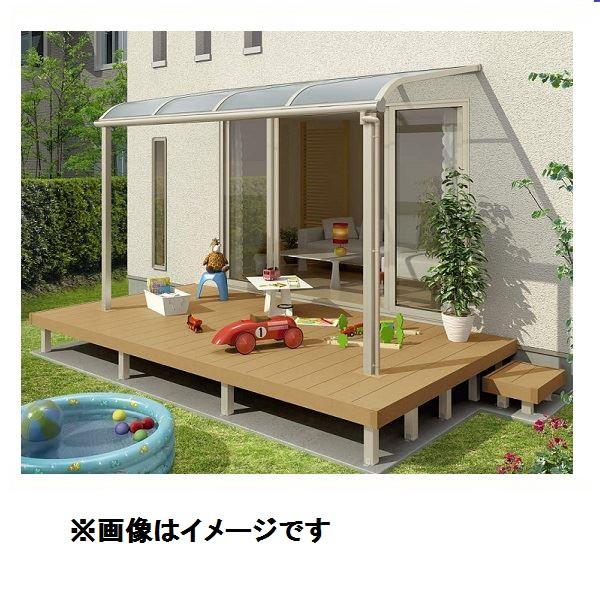 YKK ap ガーデンリビングセット リウッドデッキ200 + ヴェクター テラス屋根 2間×4尺  デッキ高さ:Sタイプ(550mm) テラス屋根:柱奥行移動タイプ R屋根 ポリカーボネート