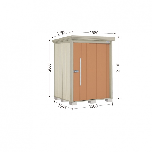 タクボ物置 ND/ストックマン ND-S1515 多雪型 標準屋根 『追加金額で工事も可能』 『屋外用中型・大型物置』 トロピカルオレンジ