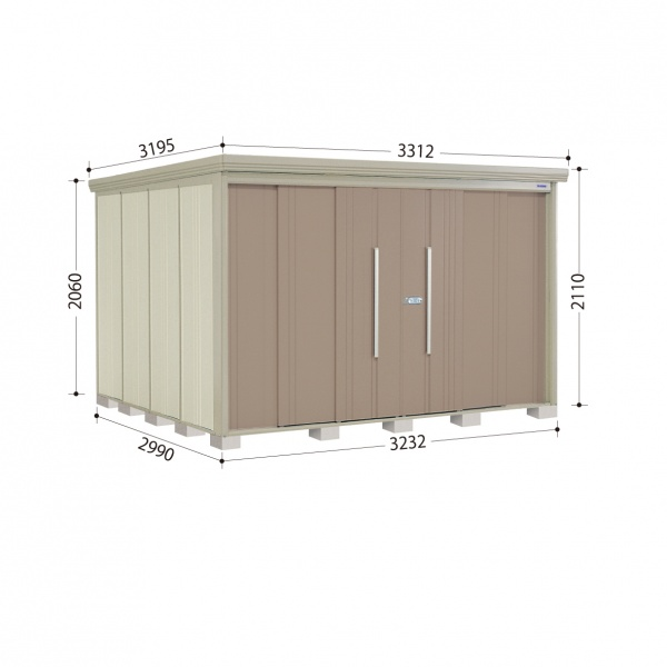 タクボ物置 ND/ストックマン ND-3229 一般型 標準屋根 『追加金額で工事も可能』 『屋外用中型・大型物置』 カーボンブラウン