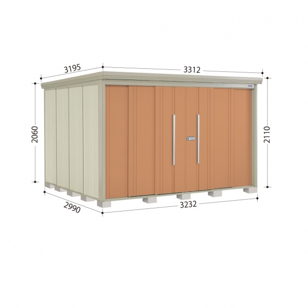 タクボ物置 ND/ストックマン ND-3229 一般型 標準屋根 『追加金額で工事も可能』 『屋外用中型・大型物置』 トロピカルオレンジ