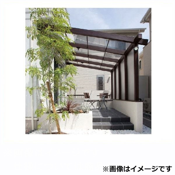 タカショー ポーチテラス カフェスタイル FIX腰壁 壁付タイプ 1.5間×9尺 強化ガラス(クリア)