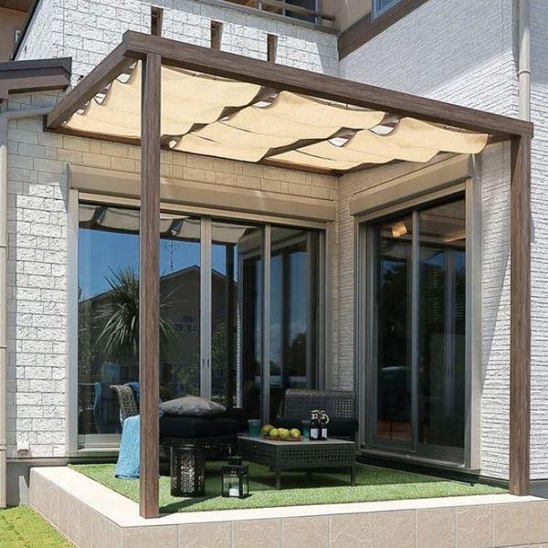 タカショー ポーチテラス シンプルスタイル 独立(壁寄せ)タイプ 1.5間×9尺 クリア