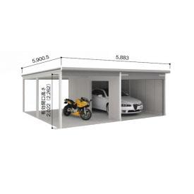 【公式】 ヨドガレージ ラヴィージュ VGCU-3055+VKCU-2855 オープンスペース連結タイプ 『シャッター車庫 ガレージ』:エクステリアのプロショップ キロ-エクステリア・ガーデンファニチャー